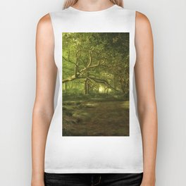 Fantasy Forest Painting Green Wood Biker Tank