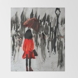 The Girl In The Red Rain Coat (Part 3)  Fine Art Acrylic Painting Throw Blanket