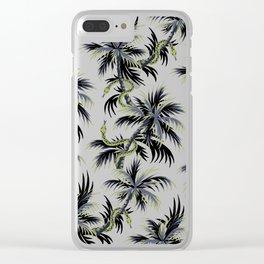 Snake Palms - Dark blue/gold Clear iPhone Case