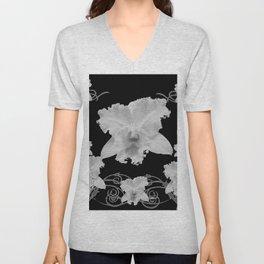 WHITE CATTLEYA ORCHIDS IN BLACK & WHITE ART Unisex V-Neck