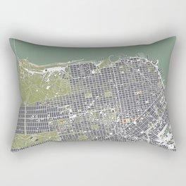 San Francisco city map engraving Rectangular Pillow