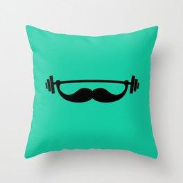 Minimal Funny Fitness Mustache / Beard Throw Pillow