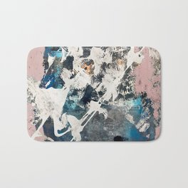 Breaker of Chains: a colorful abstract with white pink blue gray and gold Bath Mat