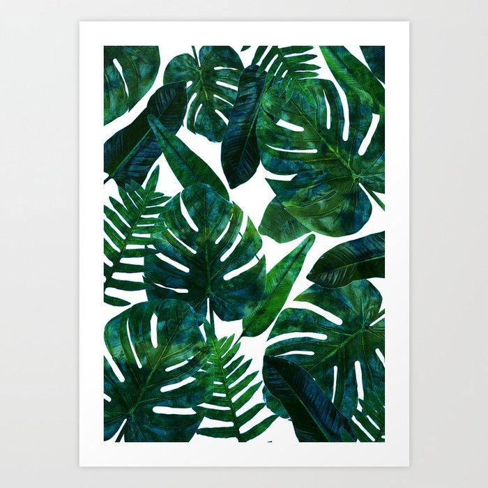 Tropical Nature Monstera Watercolor Painting, Botanical Jungle Dark Palm Illustration Kunstdrucke