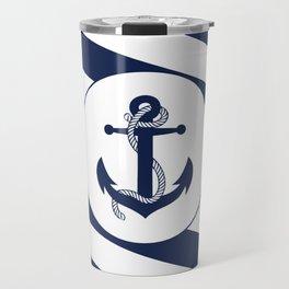 Nautical Anchor Navy Blue & White Stripes Beach Travel Mug