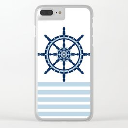 AFE Nautical Helm Wheel Navy & Blue Clear iPhone Case