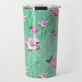 Blossom Willow Flower Pattern Turquoise & Pink Travel Mug