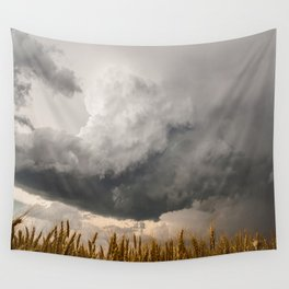 Marshmallow - Storm Cloud Over Golden Wheat in Kansas Wall Tapestry