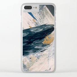 Harbor: a minimal, blue and gold abstract piece Clear iPhone Case