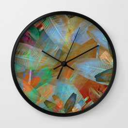 """Spring Tropical Pastel Leaves"" Wall Clock"