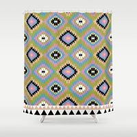 kilim Shower Curtains featuring Modern Kilim by Alisse Courter