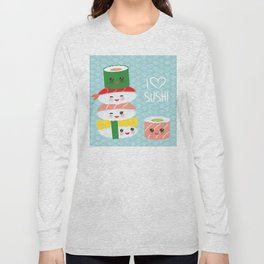 I love sushi. Kawaii funny sushi set with pink cheeks and big eyes, emoji. Blue japanese pattern Long Sleeve T-shirt
