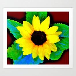 Sunflower Ilustration Yelow Green Blue Brown Summer Art Print