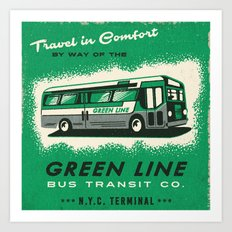 THE GREEN LINE BUS Art Print