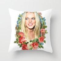 lindsay lohan Throw Pillows featuring Original Lindsay by Vivalaplastic