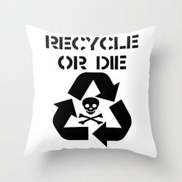 Recycle Black Throw Pillow