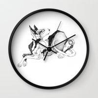 doberman Wall Clocks featuring doberman by vasodelirium