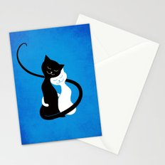 White And Black Cats In Love Stationery Cards