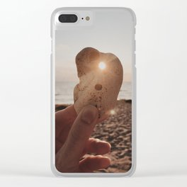 Sunset at beach Clear iPhone Case