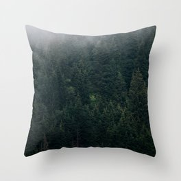 Mystic Pines - A Forest in the Fog Throw Pillow