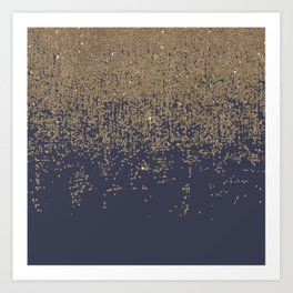 Navy Blue Gold Sparkly Glitter Ombre Art Print