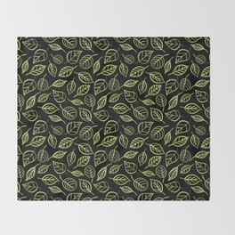 Green and black leaves pattern Throw Blanket