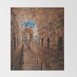 Prison Corridor - Sepia Blues Throw Blanket