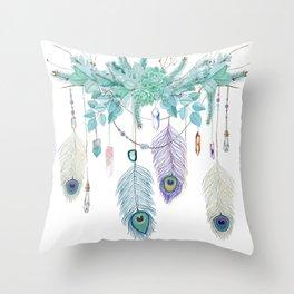 Peacock And Eucalyptus Crystal Spirit Gazer Throw Pillow