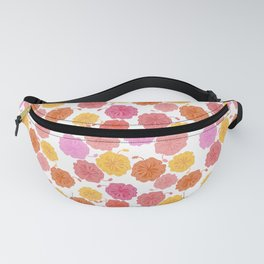 Hibiscus Hawaiian Flowers in Pinks and Corals on White Fanny Pack