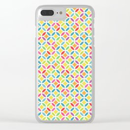 Rainbow Geometric Lattice Circles Pattern Clear iPhone Case