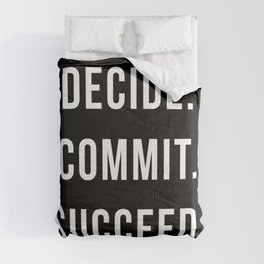Decide Commit Succeed Motivational Gym Quote Comforters