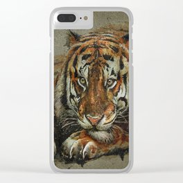 Tiger background Clear iPhone Case