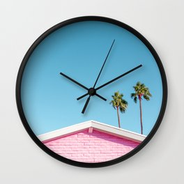 Pink House Roofline with Palm Trees (Palm Springs) Wall Clock