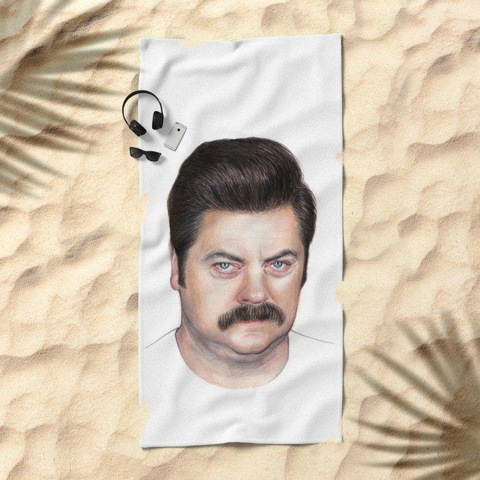 Ron Swanson Beach Towel