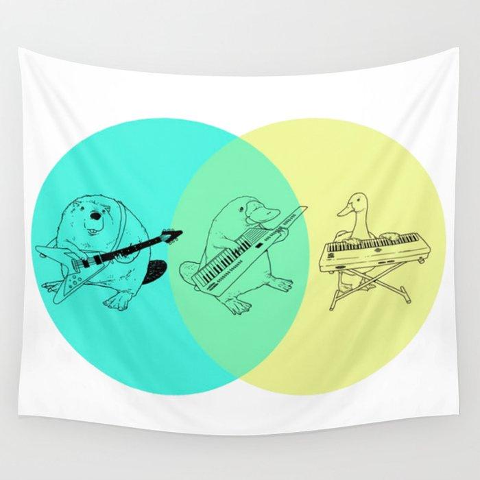 Keytar Platypus Venn Diagram Wall Tapestry