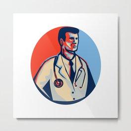 Doctor Stethoscope Standing Retro Metal Print
