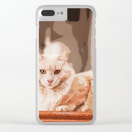 Brown Tan Feline Cat Sitting On Stair Clear iPhone Case