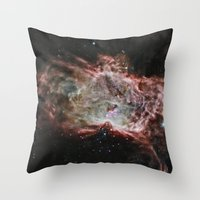 nasa Throw Pillows featuring NASA Flame Nebula by Artlala for MSF Doctors Without Borders