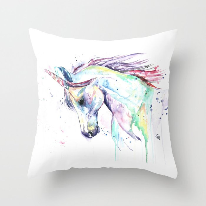 Colorful Unicorn Watercolor Painting - Kenzie's Unicorn Throw Pillow
