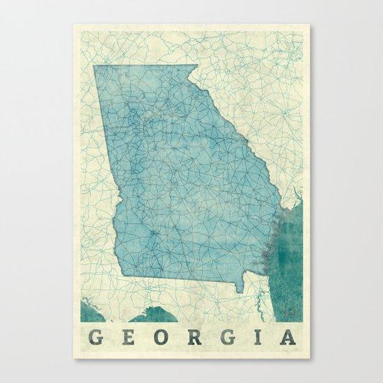 Georgia Map Blue Vintage Canvas Print