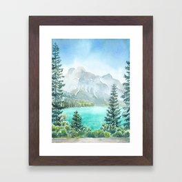Emerald Lake Watercolor Framed Art Print