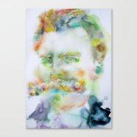 nietzsche Canvas Prints featuring FRIEDRICH NIETZSCHE by LAUTIR