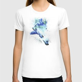Polar Bear Diving Watercolor Painting- The Plunge T-shirt