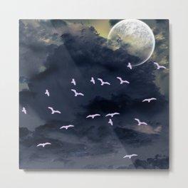 Flying under the moonlight Metal Print