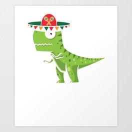 Cute T-Rex With Sombrero Cinco De Mayo Mexican Art Print