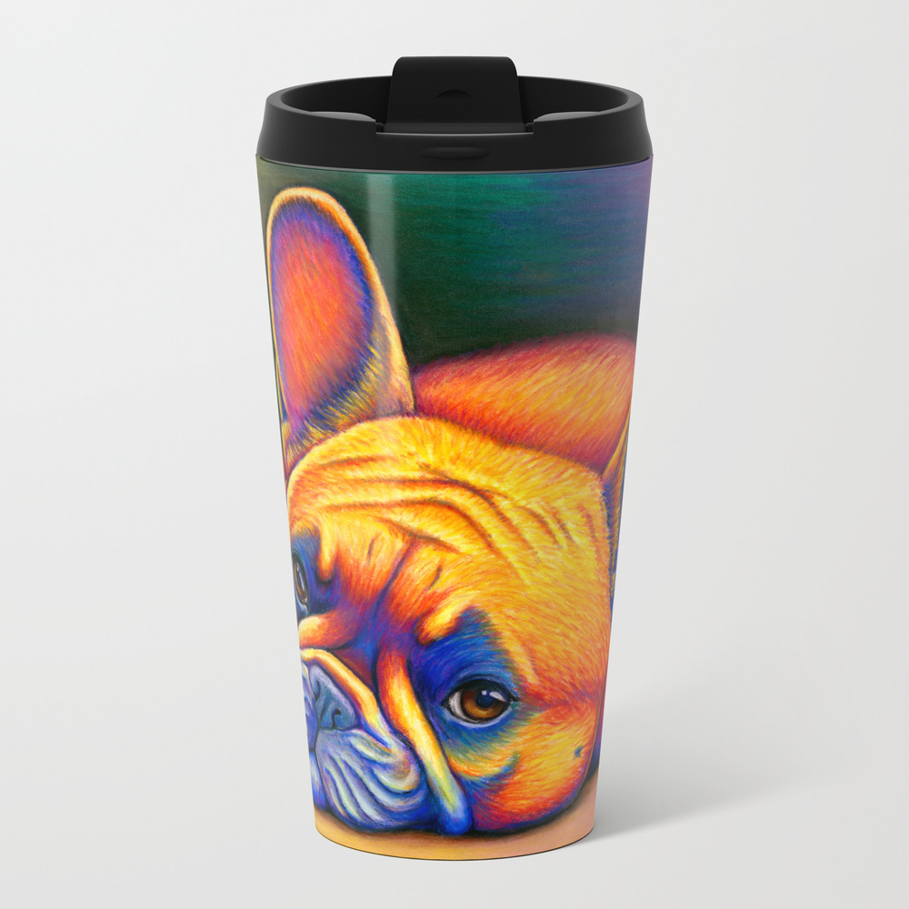 Colorful French Bulldog Rainbow Dog Pet Portrait Metal Travel Mug by Psychedeliczen MTM7775773