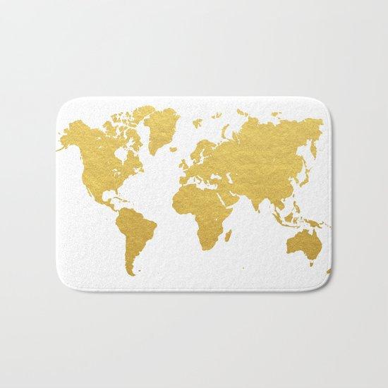Gold World Map Bath Mat