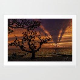 Cloudscape shadows sunset in colington, NC Art Print