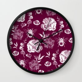 Floral rose pattern Wall Clock