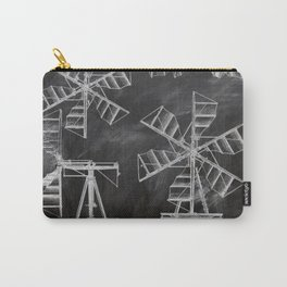 steampunk western country chalkboard art agriculture farm windmill patent print Carry-All Pouch